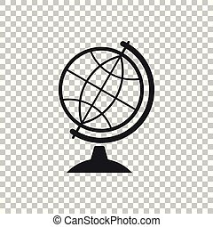 Earth globe icon isolated on transparent background. Flat design. Vector Illustration