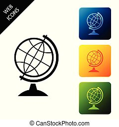 Earth globe icon isolated on white background. Set icons colorful square buttons. Vector Illustration