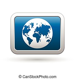 Earth globe icon on the blue button