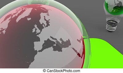 earth globe in bulb ecology concept