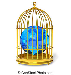 Earth globe in golden cage