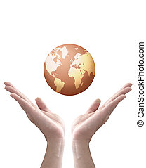 earth globe in hands isolated on white