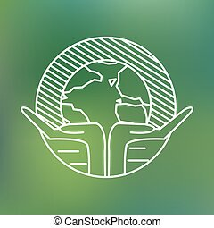 Earth globe in human hands planet protection care recycling...