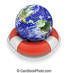 Earth globe in lifebuoy