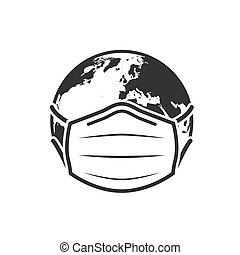Earth globe in medical face mask icon