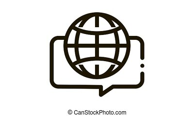 Earth Globe In Quote Frame Icon Animation. black Worldwide International Different Languages Speaking animated icon on white background