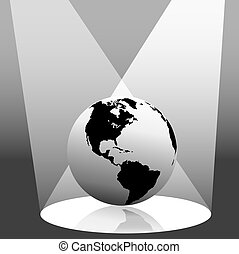 Earth Globe in Spotlight West - Illustration of the Earth on...