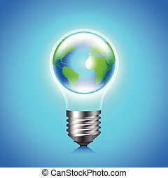 Earth globe inside light bulb environment concept