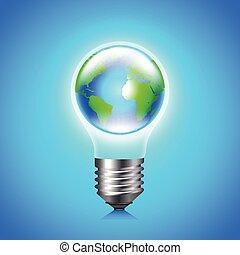 Earth globe inside light bulb environment concept