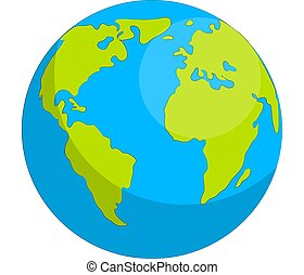 Earth globe isolated on white background. Flat planet