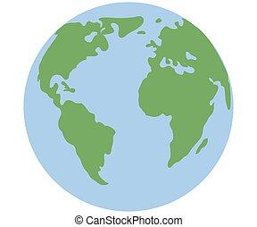 Earth globe isolated on white background. Flat planet icon.