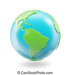 Earth globe isolated on white background. Globe planet Earth icon, 3D Rendring