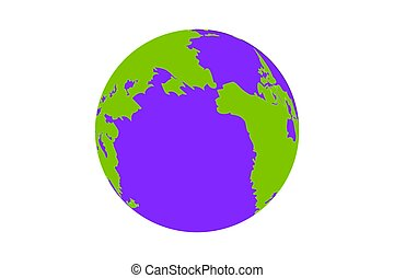 Earth globe isolated on white background. Planet Earth icon. Vector illustration.