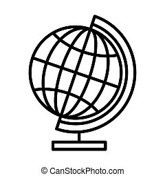 Earth globe line icon isolated on white background. Flat design. Vector Illustration