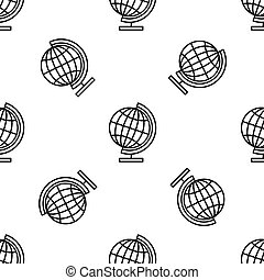 Earth globe line icon seamless pattern on white background. Flat design. Vector Illustration