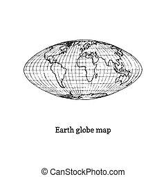 Earth globe map illustration. Drawn sketch in vector.