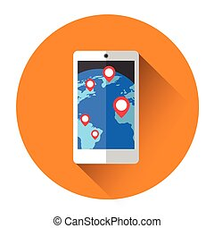Earth Globe Navigation Cell Smart Phone Icon Flat Vector...