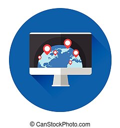 Earth Globe Navigation Computer Monitor Icon Flat Vector...