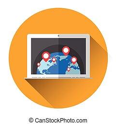 Earth Globe Navigation laptop Computer Icon