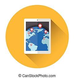 Earth Globe Navigation Tablet Computer Icon