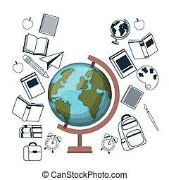 earth globe of school on white background