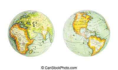 Earth globe of world isolated on white
