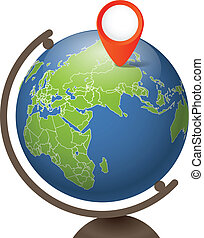 Earth globe on a support