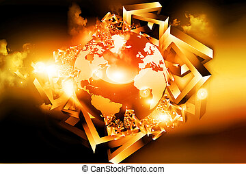Earth globe on abstract 3d background