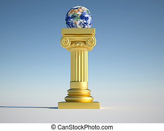 Earth globe on column - Earth globe sitting on golden roman...