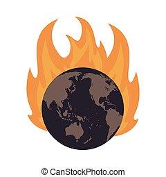 earth globe on fire icon