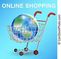 earth globe on shopping cart shopping online