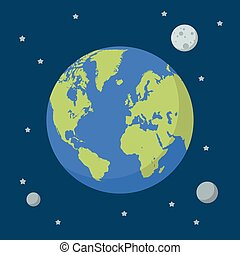 Earth globe on space background
