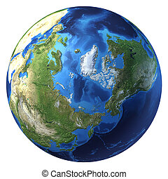 Earth globe, realistic 3 D rendering. Arctic view (North pole). On white background.