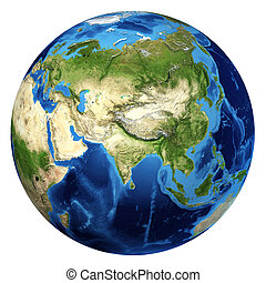 Earth globe, realistic 3 D rendering. Asia view. On white background.
