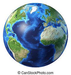 Earth globe, realistic 3 D rendering. Atlantic ocean view.