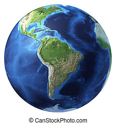 Earth globe, realistic 3 D rendering. South America view. On...