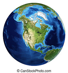 Earth globe, realistic 3 D rendering. North America view. On white background.