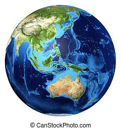 Earth globe, realistic 3 D rendering. Oceania view. On white...