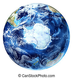 Earth globe, realistic 3 D rendering,  with some clouds. Antarctic (south pole) view. On white background.
