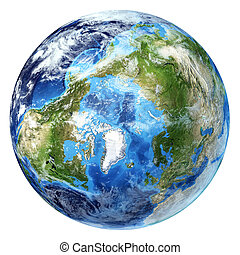 Earth globe, realistic 3 D rendering, with some clouds. Arctic view (North pole). On white background.