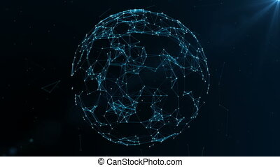 Earth globe rotating with plexus. Global digital connections. Network and exchange of data on the planet Earth