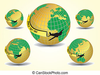 Earth globe set with airplane