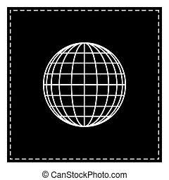 Earth Globe sign. Black patch on white background. Isolated.