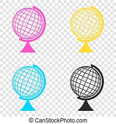 Earth Globe sign. CMYK icons on transparent background. Cyan, ma