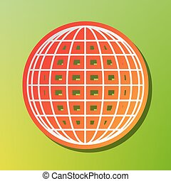 Earth Globe sign. Contrast icon with reddish stroke on green backgound.