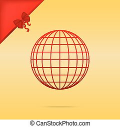 Earth Globe sign. Cristmas design red icon on gold background.