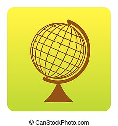 Earth Globe sign. Vector. Brown icon at green-yellow gradient square with rounded corners on white background. Isolated.