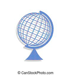 Earth Globe sign. Vector. Neon blue icon with cyclamen polka dot