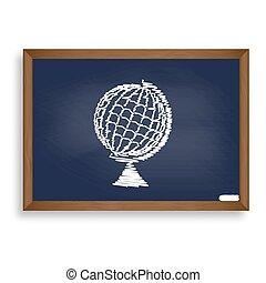 Earth Globe sign. White chalk icon on blue school board with sha