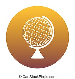 Earth Globe sign. White icon in circle with golden gradient as b